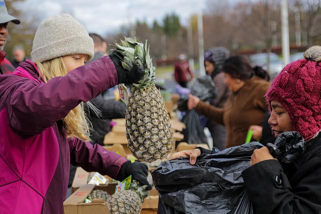 residents pick up fresh produce