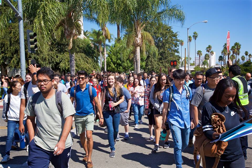 students heading to class on first week