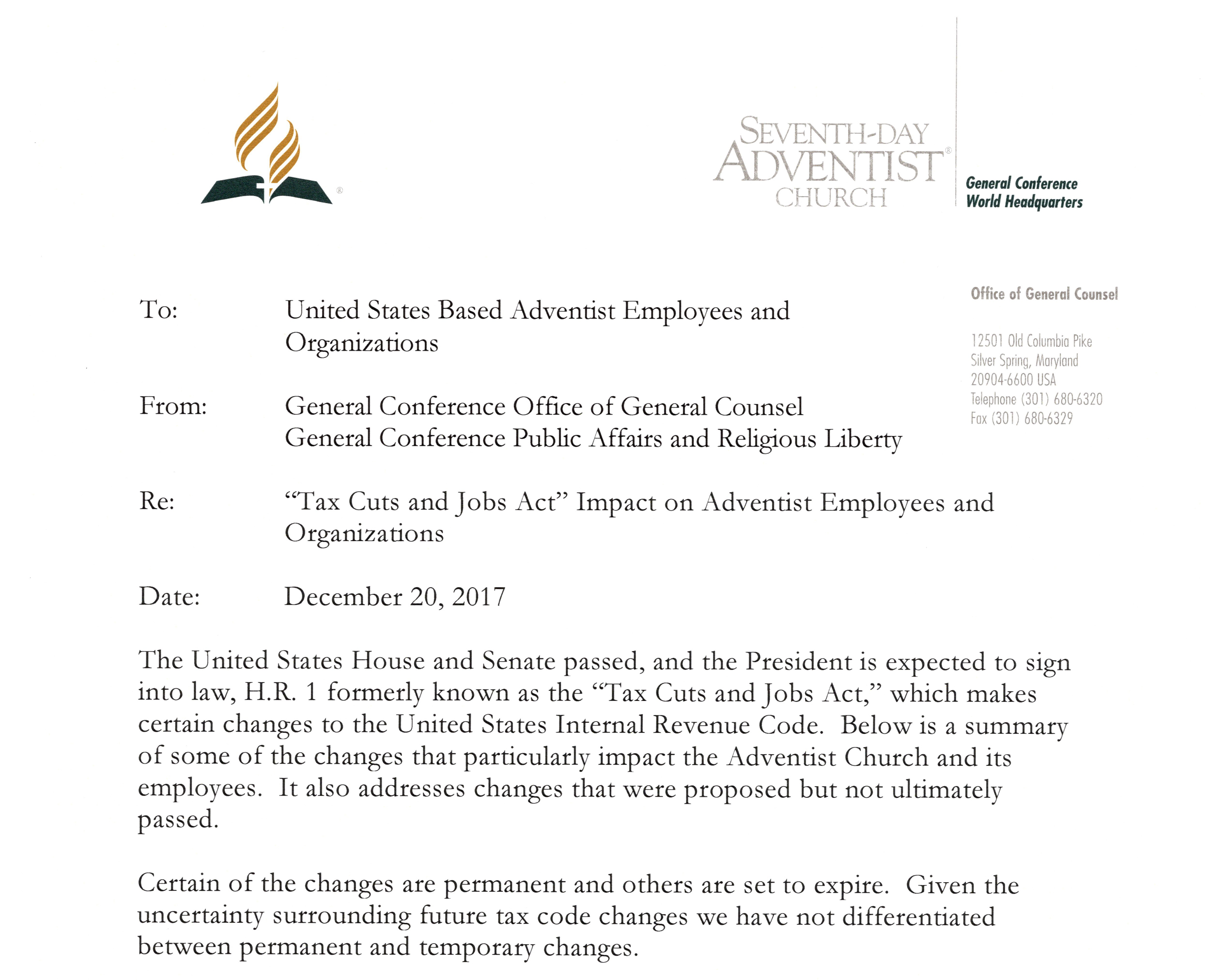Press releases north american division of seventh day adventists gc office of general counsel issues memo on us tax cut and jobs act biocorpaavc