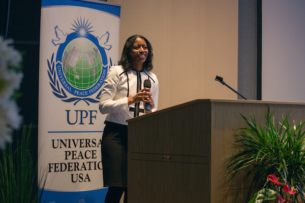 """Dr. Melissa Leslie speaks on """"Finding Direction,"""" at the """"Uplift and Empower Women in 2018"""" International Women's Day Forum."""