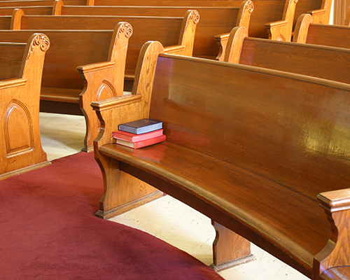 empty church pew stock photo