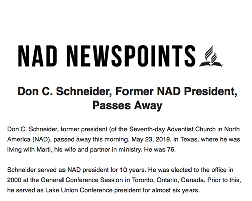 Former NAD President Don Schneider passes away