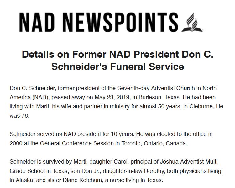 Details on Don C. Schneider's Funeral Service