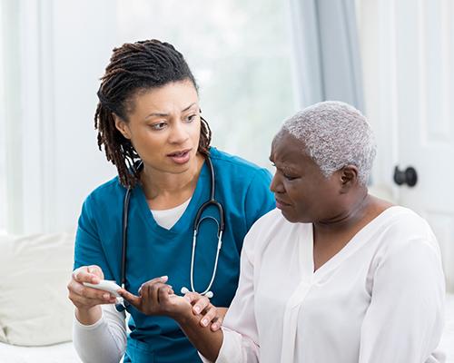 diabetic patient and nurse