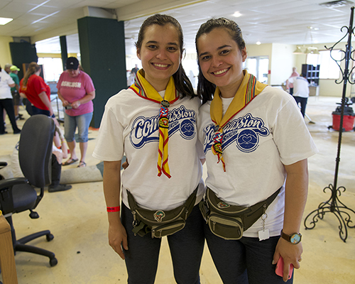 Oshkosh 2019 Rojas twins from Paraguay help tear out carpet at project