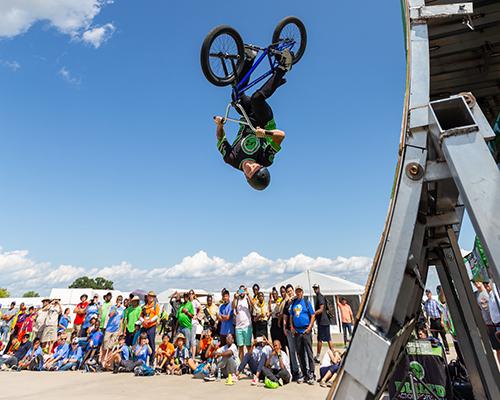 BMX bike tricks at the 2019 Oshkosh camporee