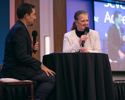 Debra Brill is interviewed by Julio Munoz during the 2019 NAD YEM