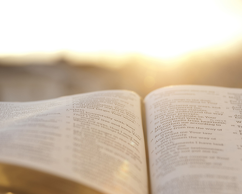 Bible with sunset glow