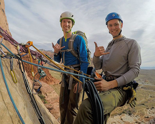 Xander Culver (left) and Grant Hartman enjoy frequent climbing expeditions together like this one at Red Rock, Nevada. PC: Will Howard