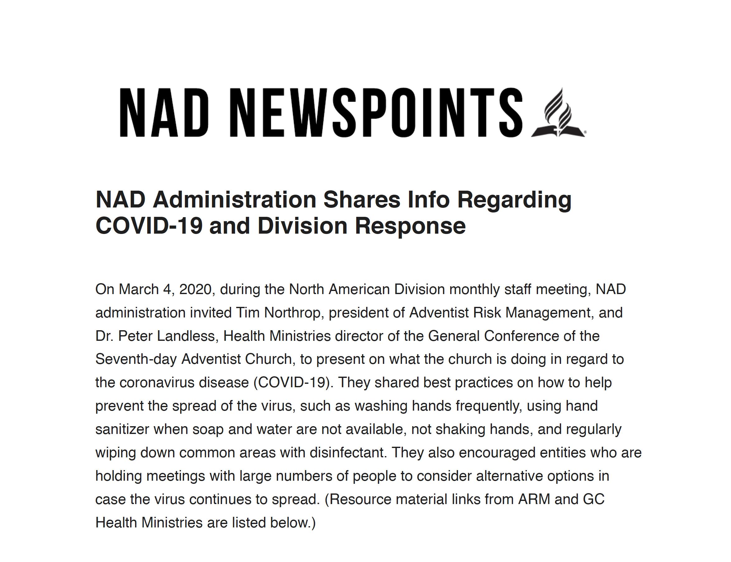 NAD Covid-19 Statement