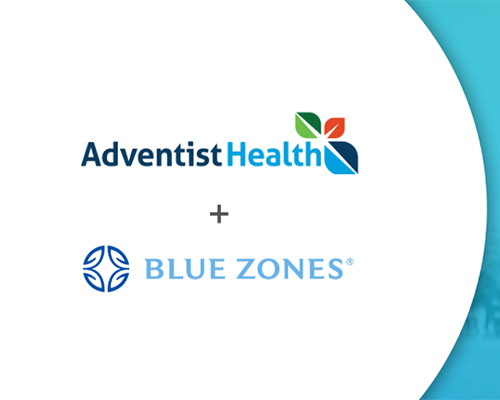 Logos of Adventist Health and Blue Zones