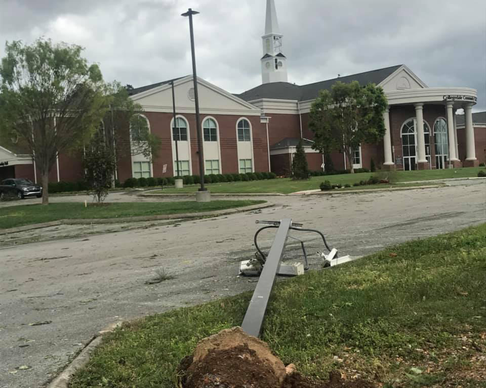 Collegedale Community Church damage from tornado.
