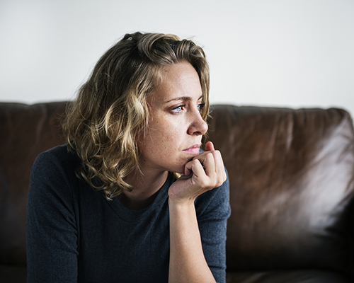 stock photo of sad woman