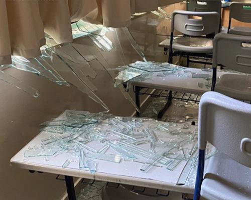 Lebanon Adventist class shattered windows