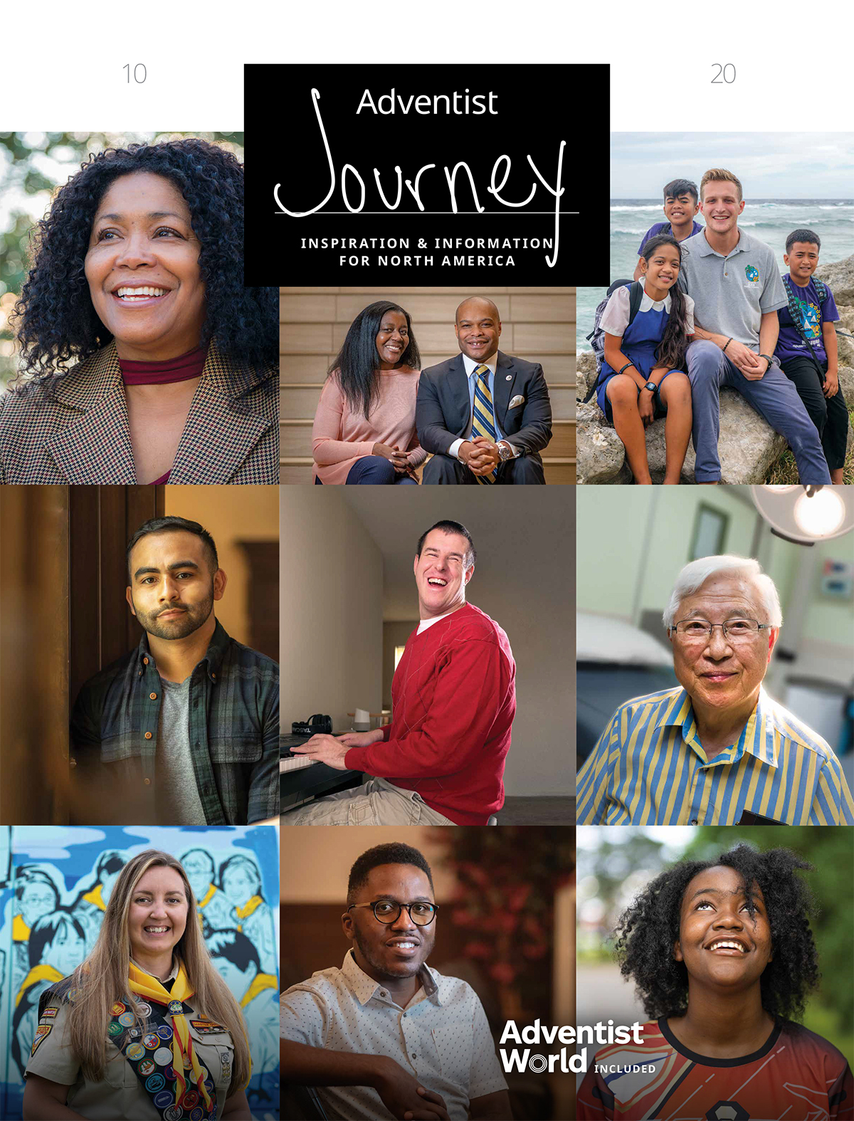 Adventist Journey magazine cover with nine people