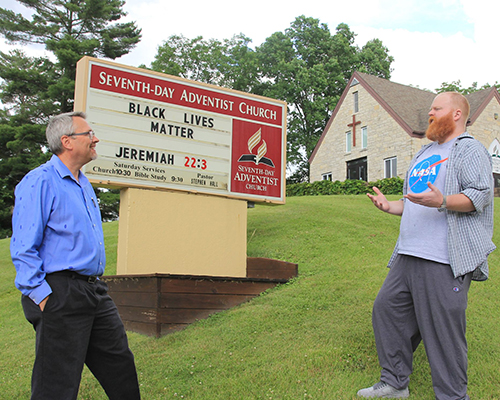 Reedsburg church sign with pastor Stephen Hall