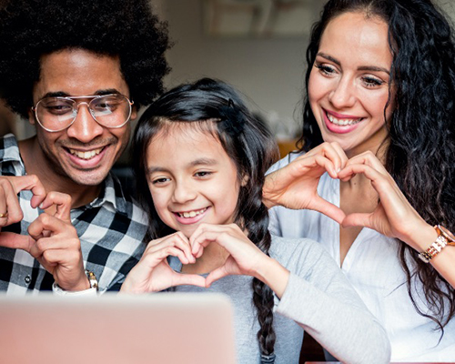 Multi-ethnic family on video conference