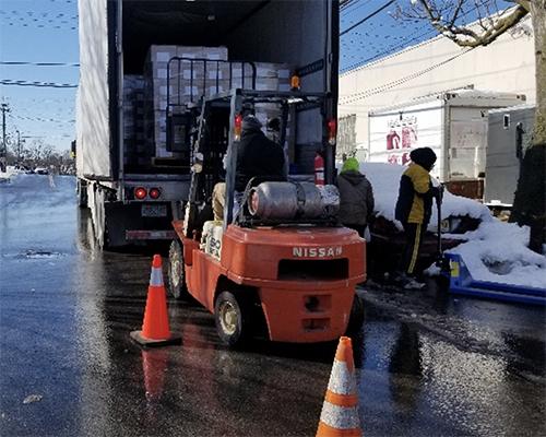 ACS city harvest truck unloaded in bronx
