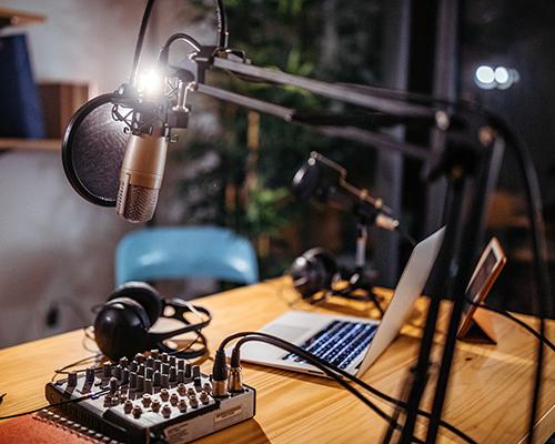 stock photo of small radio station setup