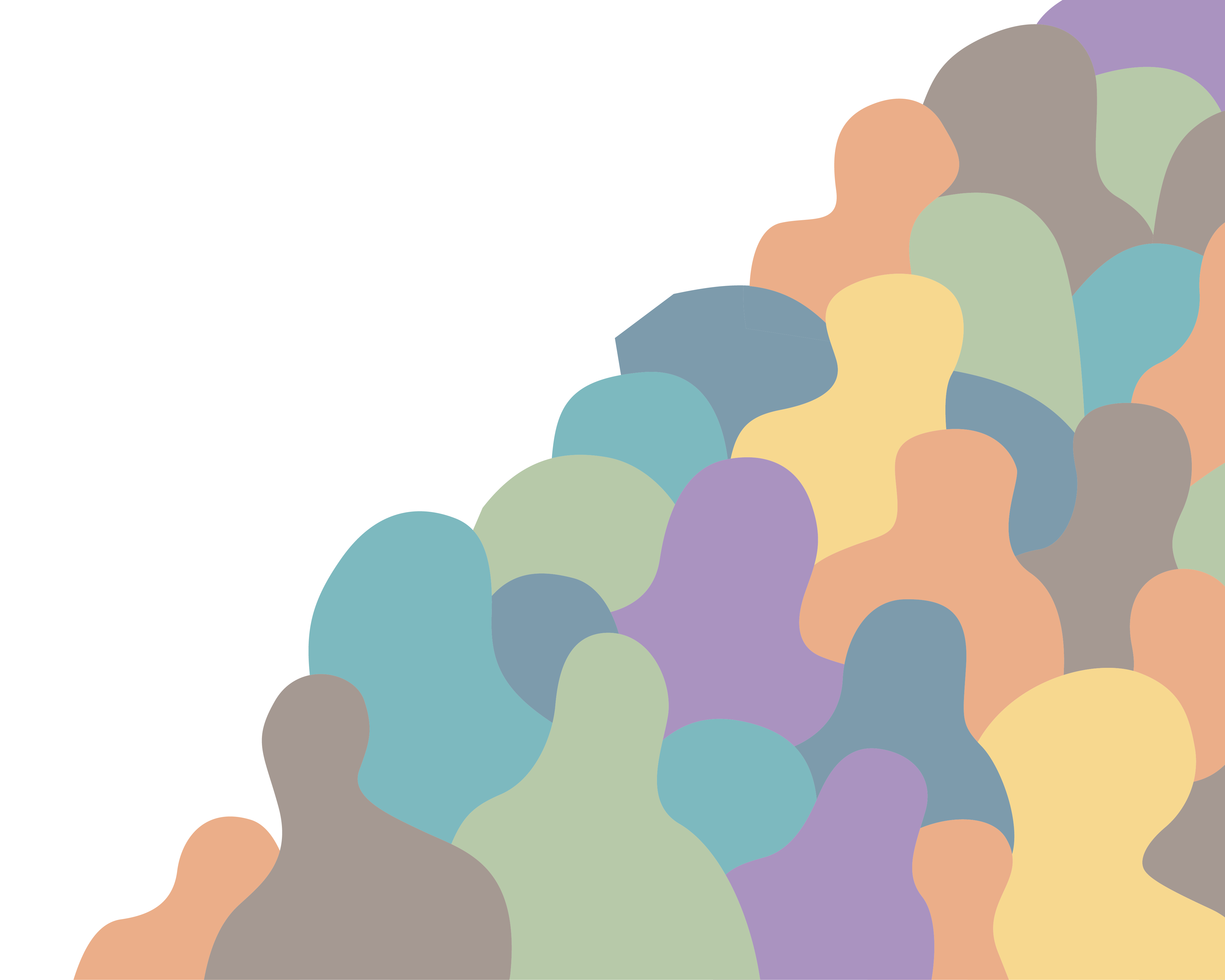 Colorful blobs resembling a crowd of diverse people