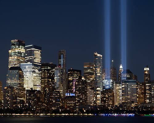 stock photo of New York City skyline with World Trade Center lights