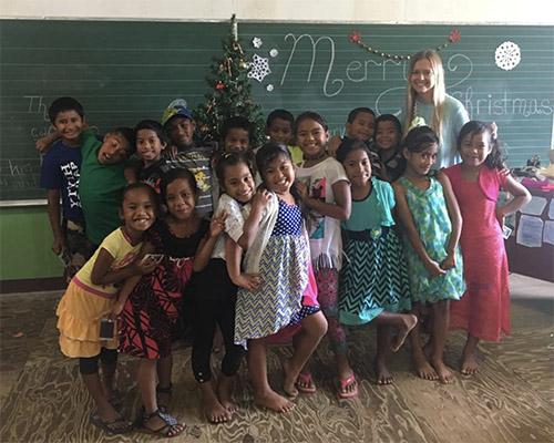 Missionary Elisa with Ebeye students