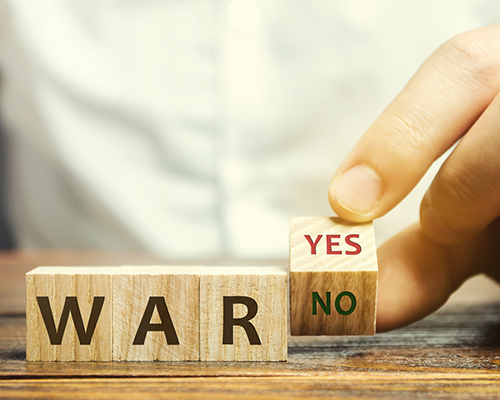 stock photo of war spelled out on blocks