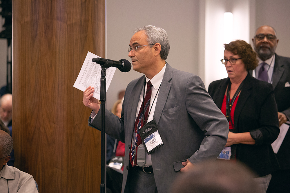 James Micheff, president of the Michigan Conference, addresses the NAD response document during the Nov. 6, 2018, discussion. Photo by Pieter Damsteegt