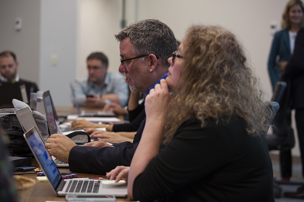 Dan Weber, NAD director of communication, monitors the live-stream, while Kimberly Luste Maran, associate director of communication, vets questions for presenters to answer. Photo: Mylon Medley