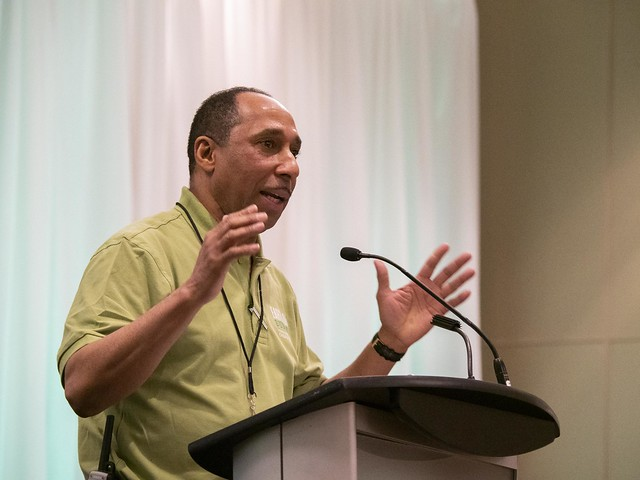 Pastor Mansfield Edwards, President of the Ontario Conference, addresses the attendees of the 2019 Earth Day Summit, organized by the Ontario Conference of the Seventh-day Adventist Church. ©2019 North American Division/Dan Weber