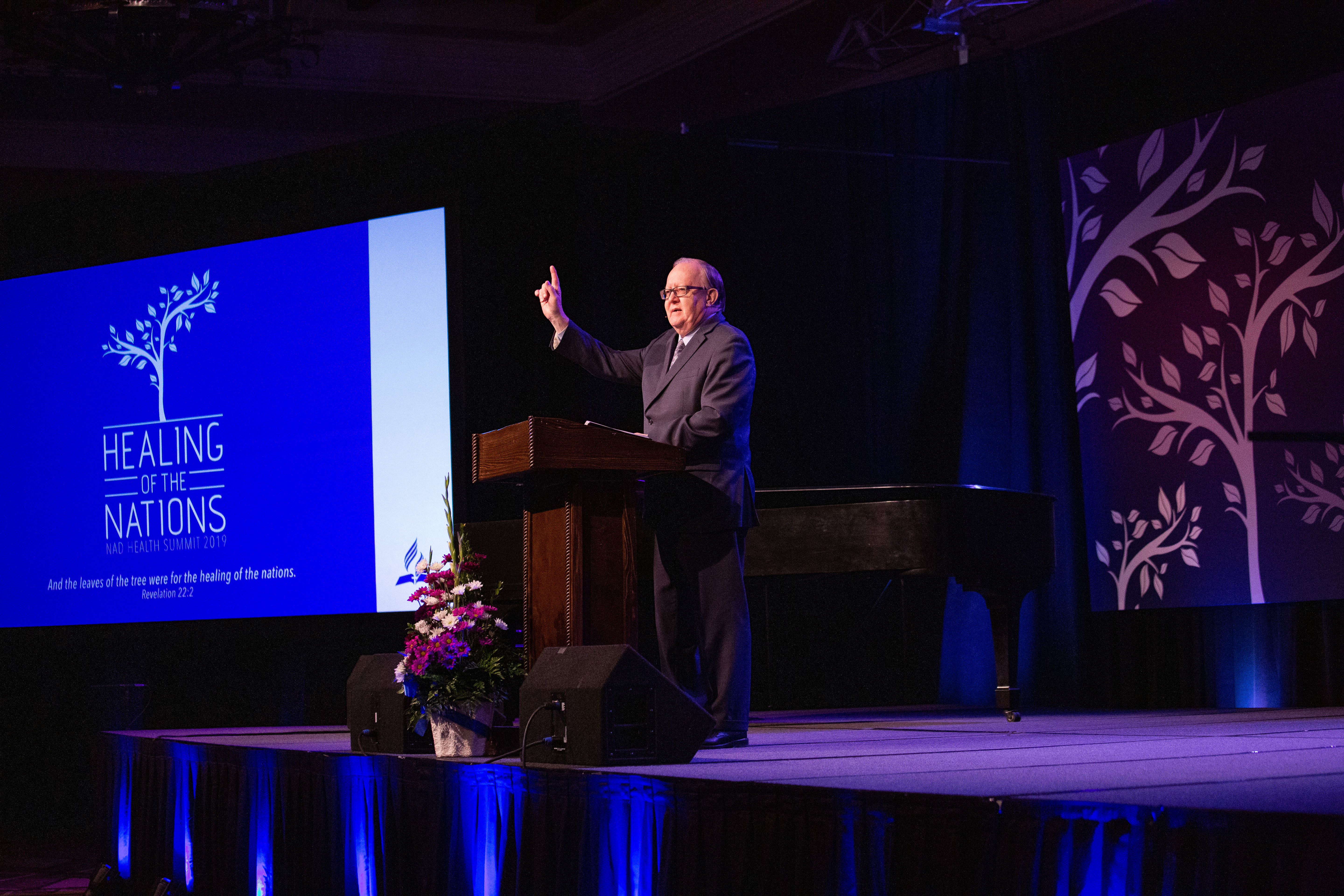 Daniel R. Jackson, president of the North American Division, delivers a message Friday evening on the need for fellowship.