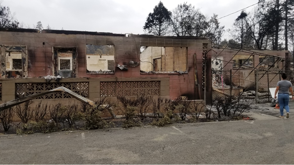 A Northern California Conference ACS center located within Napa County, California, was severely damaged by The Glass Fire that ravaged the area last month. Photo W. Derrick Lea/Adventist Community Services.