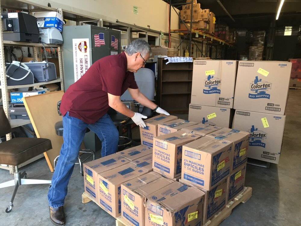 ACS in Texas get cleaning supplies ready for distribution