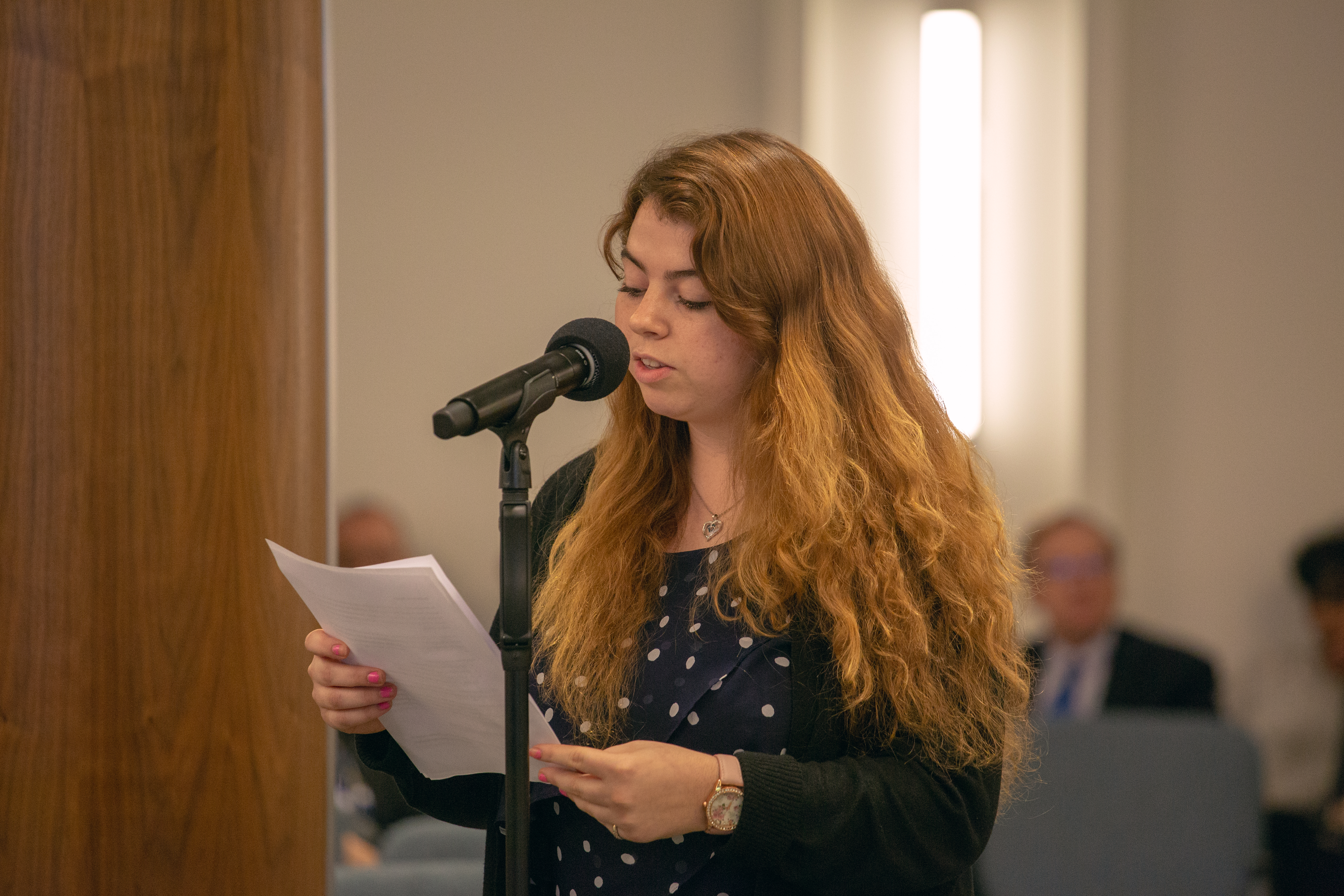 Ashton Hardin, student body president of La Sierra University, reads statement drafted by her colleagues.