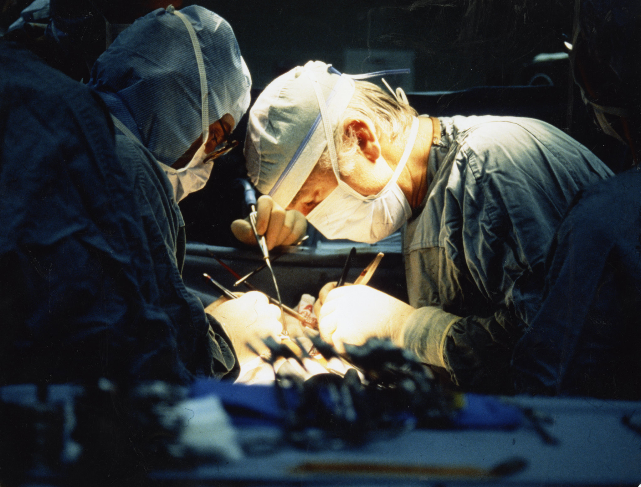 "Leonard Bailey, MD, and his team perform surgery on ""Baby Fae"" in October of 1984. It became one of the world's biggest news stories of the year"