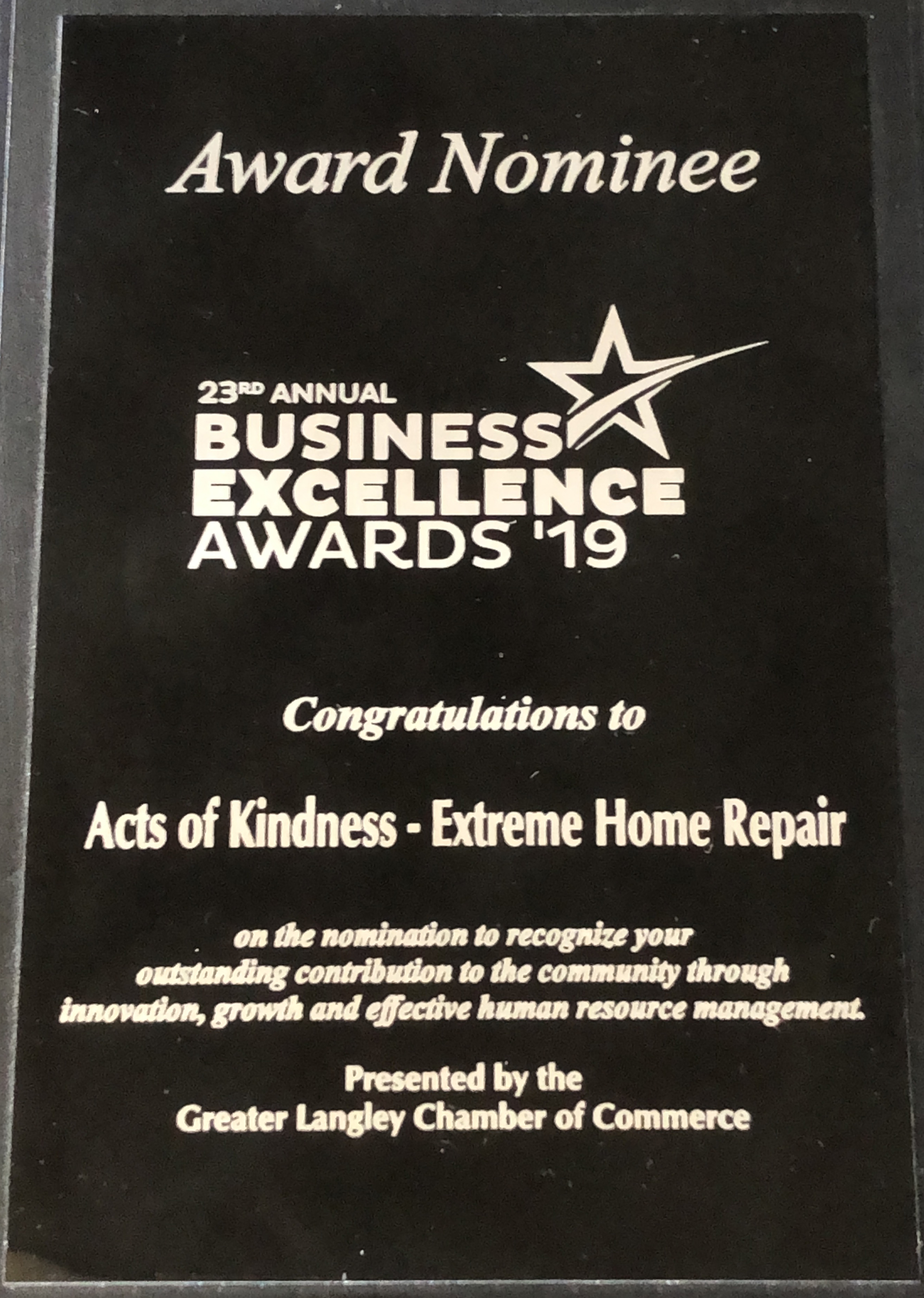 Award plaque presented to Acts of Kindness Extreme Home Repair