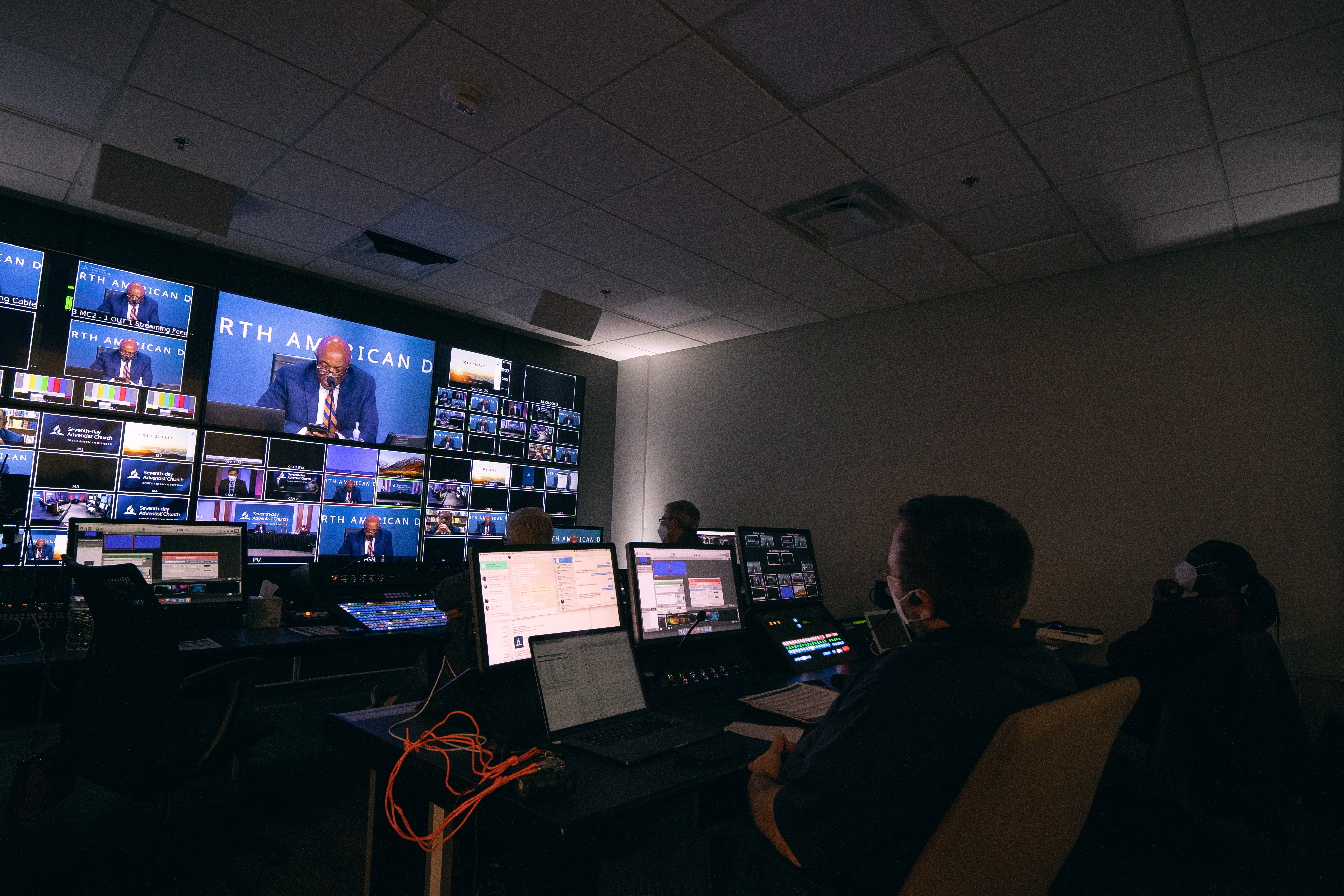 Production crew led by Nick Wolfer monitors broadcast from the NAD studio control room. Photo: Pieter Damsteegt