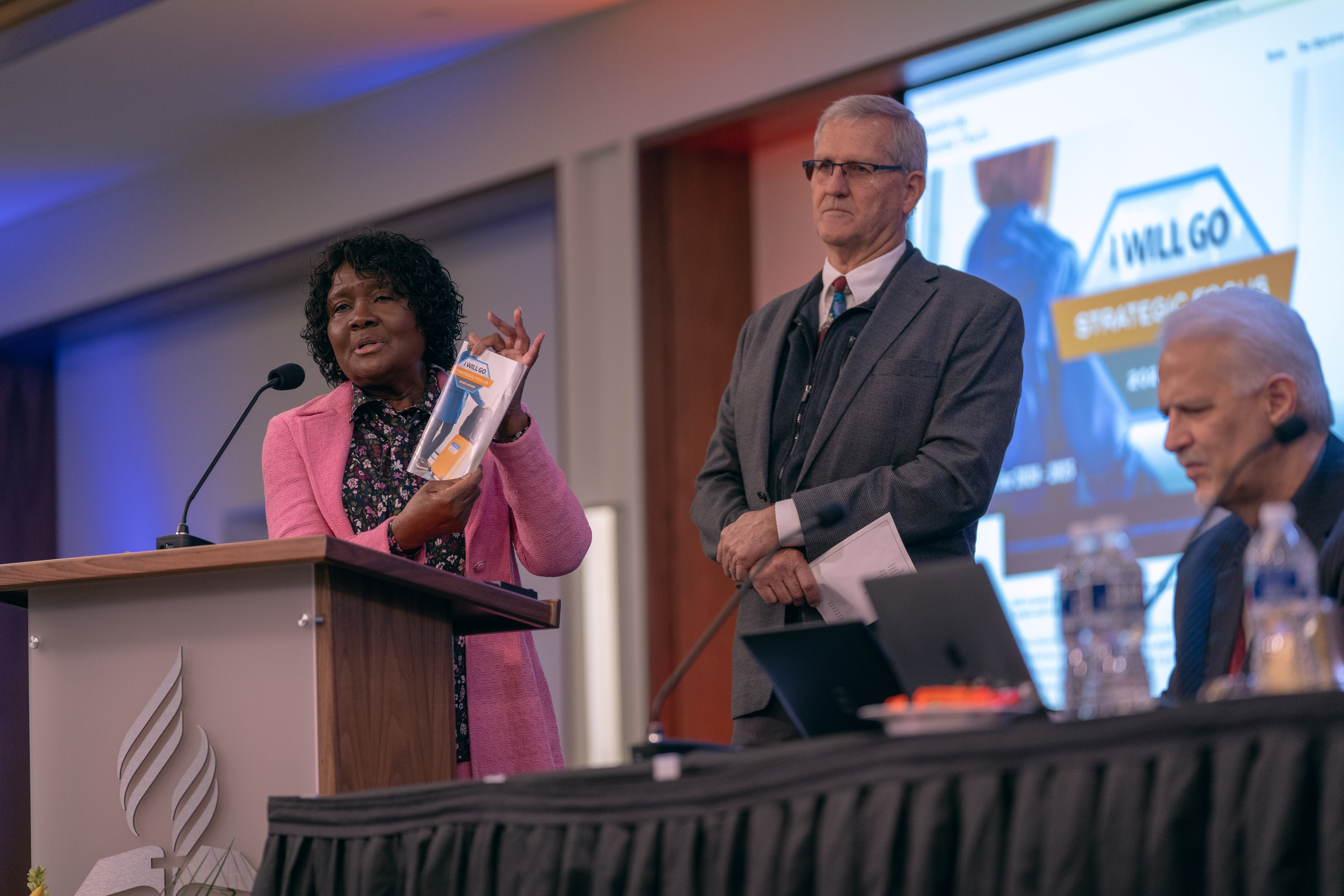 "Ella Simmons, GC general vice president, and John Thomas, GC associate secretary, present the General Conference's strategic plan, ""I Will Go"" for the Church's next quinquennium – 2020 through 2025."