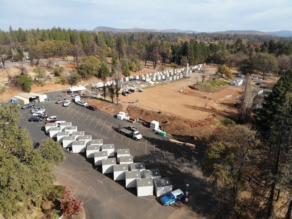 An aerial view of the shed build at the Paradise church site where volunteers constructed more than 200 sheds.