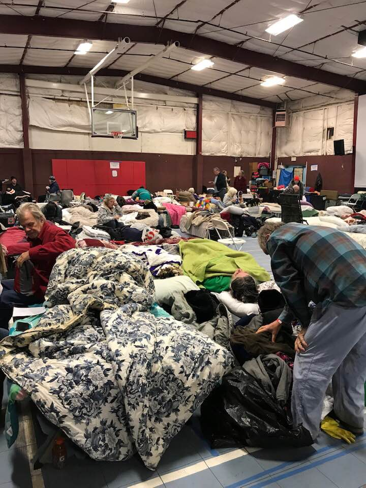 Shelter housing some of those who evacuated and lost their homes to the Camp Fire, which destroyed most of the town of Paradise, California. Photo by Katlyn Dovorek