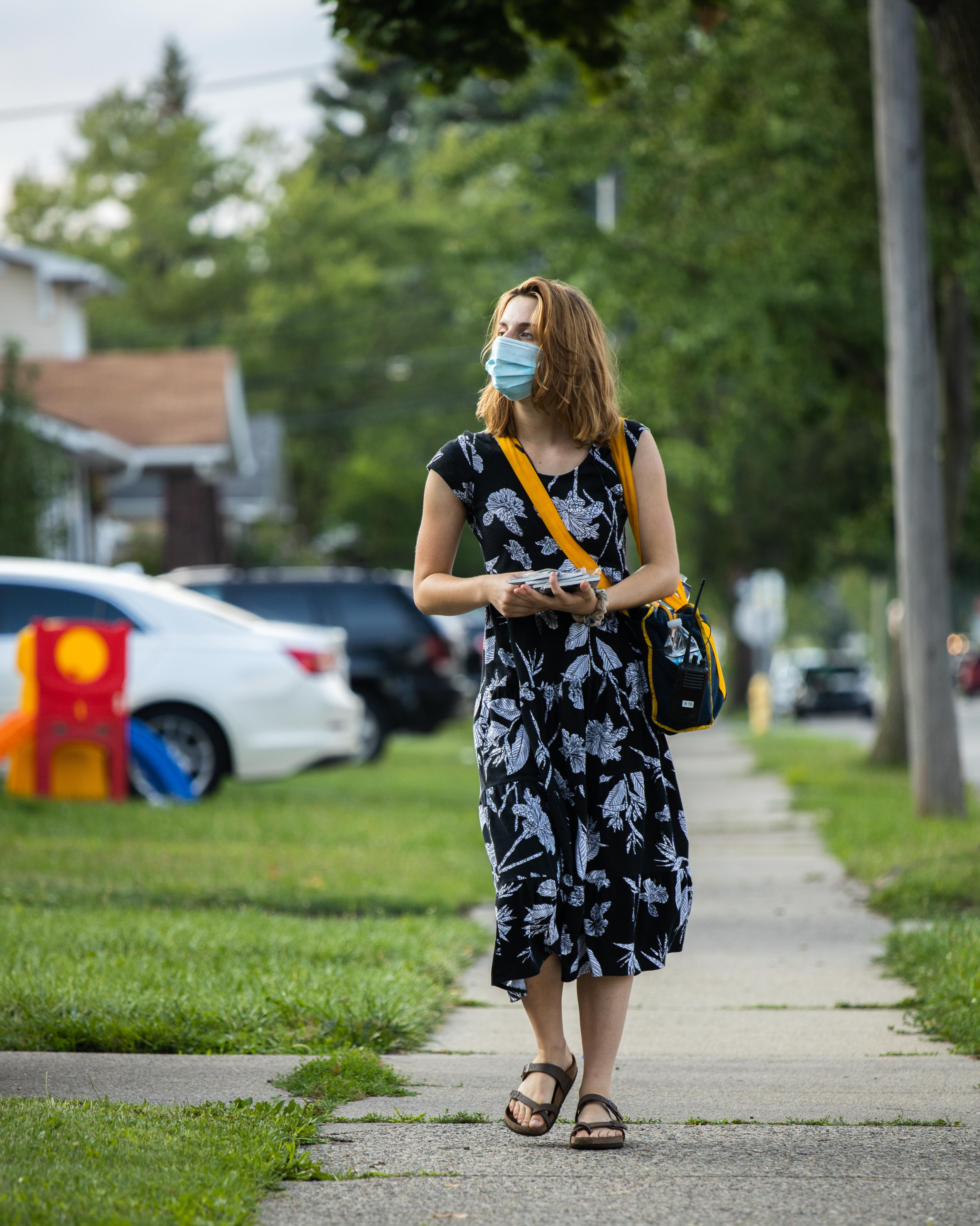Michigan Youth Rush member canvasses in a neighborhood in Dearborn, Michigan – home to the largest population of Arab Americans in the United States.