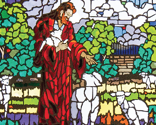 Stained glass in the C.D. Brooks Prayer Chapel
