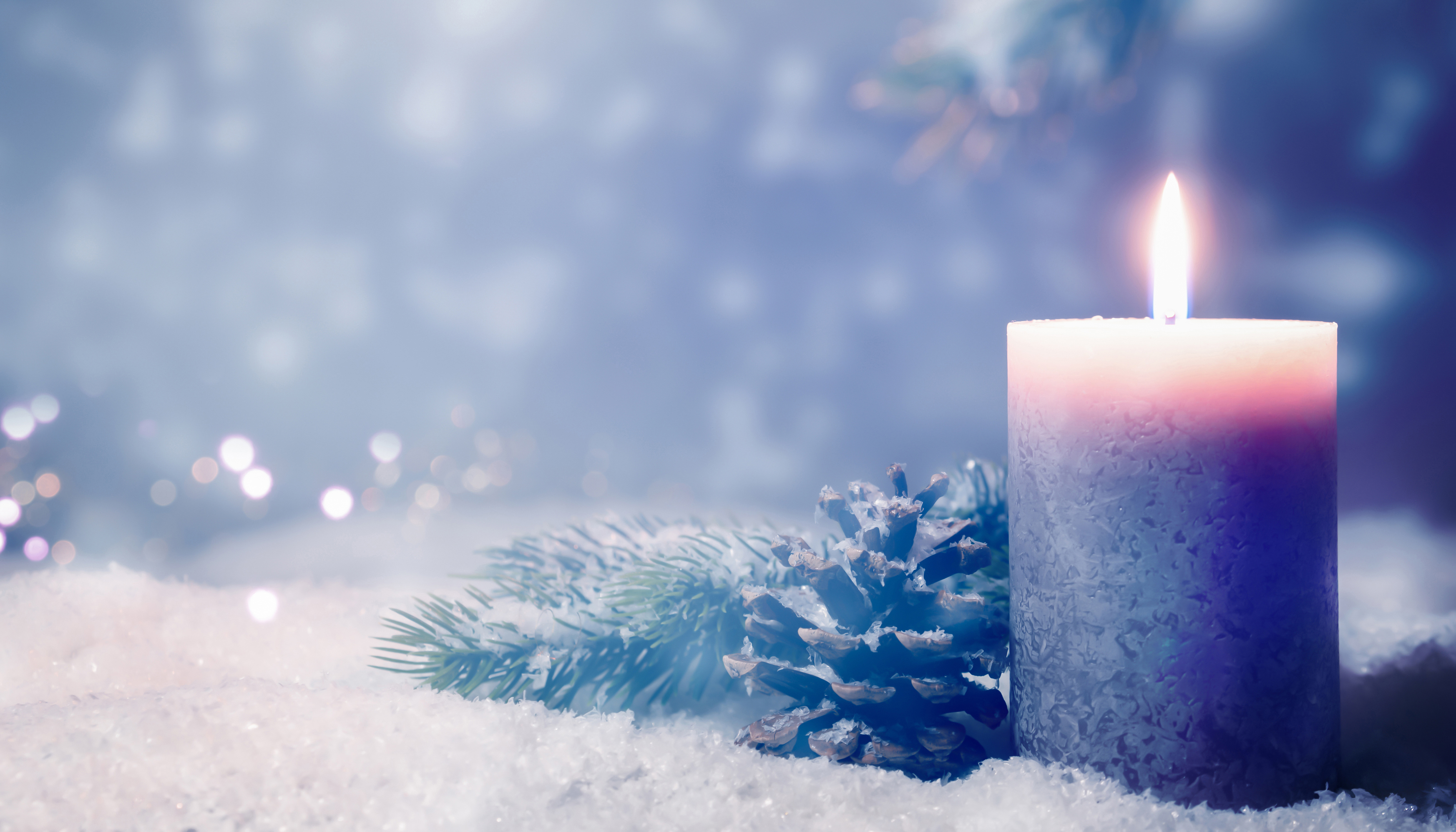 stock photo of candle and snowy pine cone