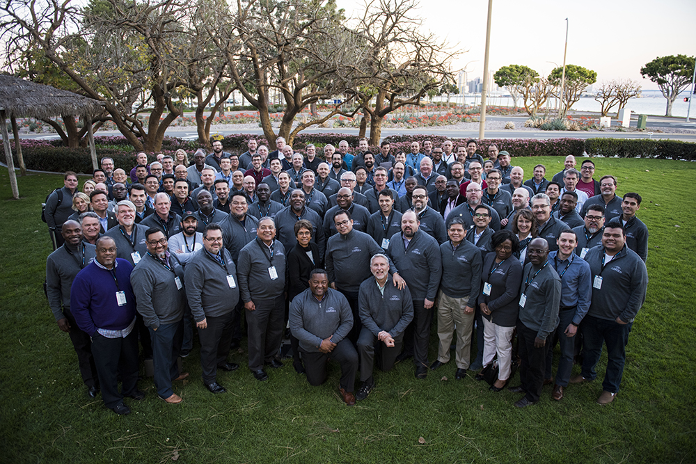 Participants at the February 2019 eHuddle gather for a photo outside their San Diego, California, meeting place.