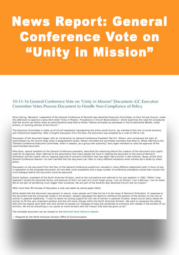 "News Report: General Conference Vote on ""Unity in Mission"""