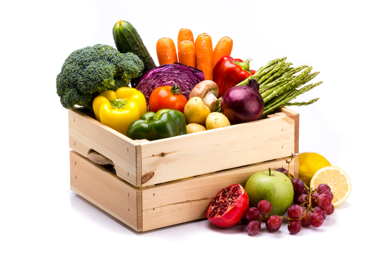 box of fruits and vegetables
