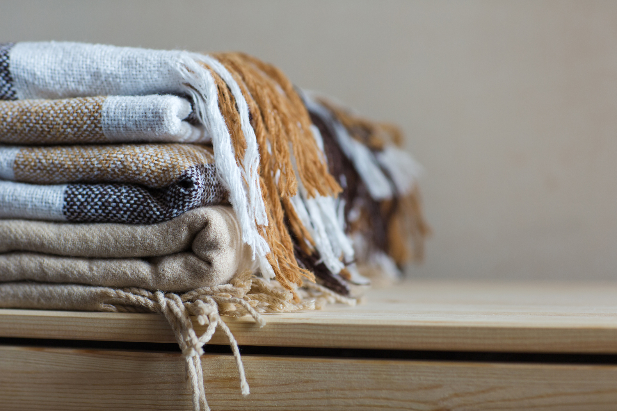 iStock photo of stack of blankets
