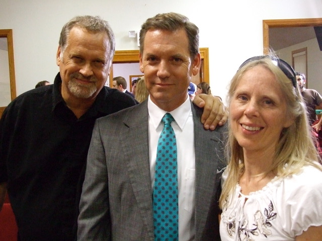 Jeff Wood (left) poses with Tom Hillman, actor from the film Hell and Mr. Fudge, and LLT co-founder Pat Arrabito.