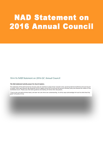 NAD Statement on 2016 Annual Council