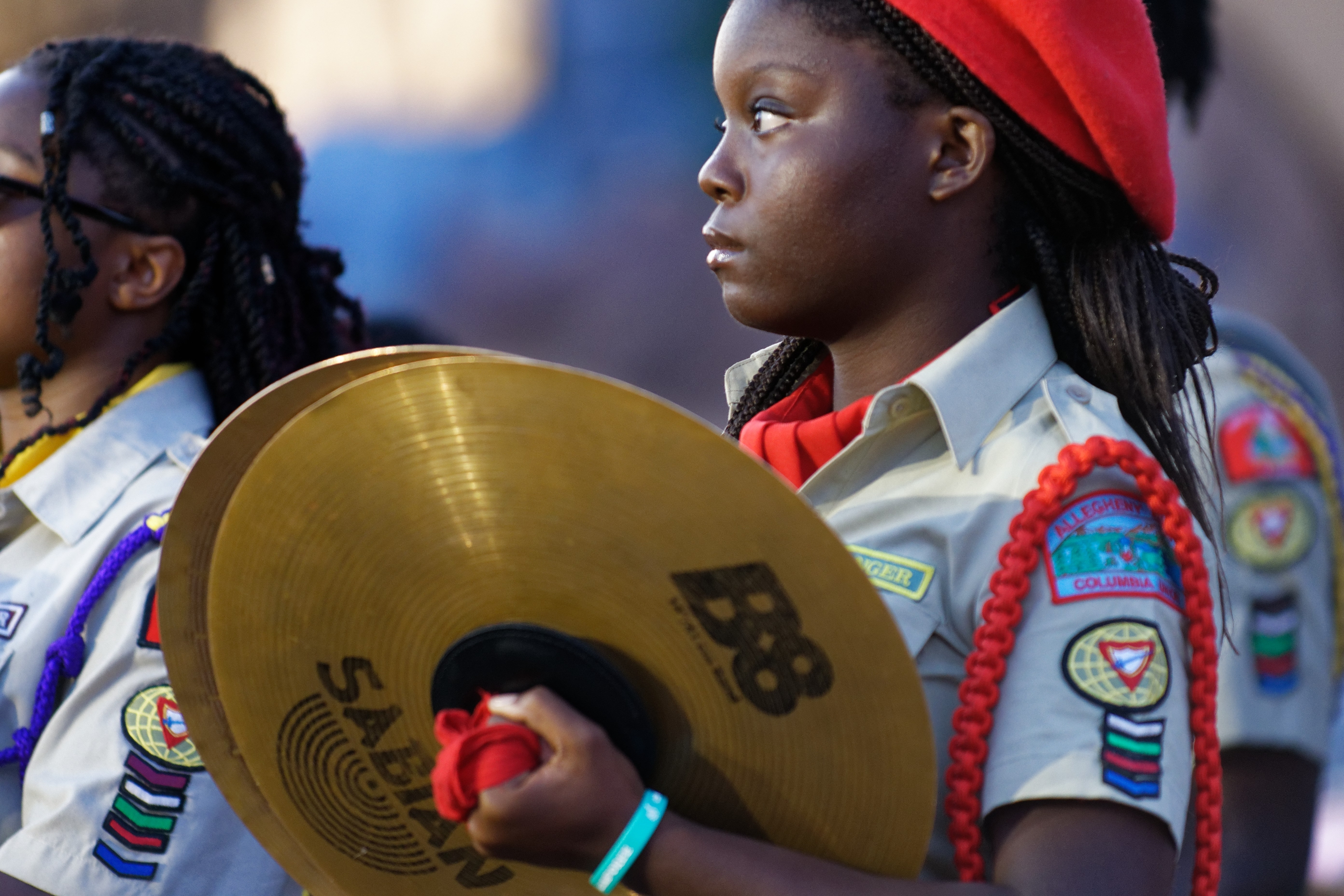 Allegheny East Pathfinders participate in the drum crops drill competition at the 2019 Chosen International Camporee. Photo by Stephen Baker